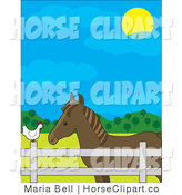 Clip Art of a Brown Horse in a Fenced Pasture, Talking to a White Chicken on a Farm on a Sunny Day by Maria Bell