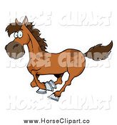 Clip Art of a Brown Horse Running by Hit Toon