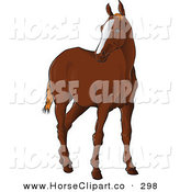 Clip Art of a Brown Horse Standing and Looking Left on White by Paulo Resende