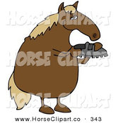 Clip Art of a Brown Horse Standing on His Hind Legs and Inspecting a Horse Shoe by Djart