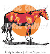 Clip Art of a Brown Horse with White Feet and a Black Tail Standing Against a Sunset by Andy Nortnik