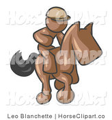 Clip Art of a Brown Man, a Jockey, Riding on a Matching Race Horse and Racing in a Derby by Leo Blanchette