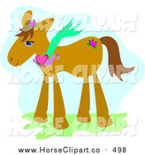 Clip Art of a Brown Pony Wearing a Heart Necklace by