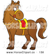 Clip Art of a Brown Pony Wearing Reins and a Yellow and Red Saddle and Looking Right by Alex Bannykh