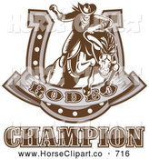 Clip Art of a Brown Rodeo Champion Rider and Horseshoe by Patrimonio