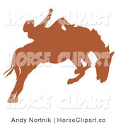 Clip Art of a Brown Silhouette of a Cowboy Riding a Bucking Bronco Horse in a Rodeo by Andy Nortnik
