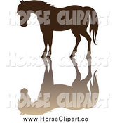 Clip Art of a Brown Silhouette of a Horse and Reflection by Pams Clipart