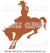Clip Art of a Brown Silhouetted Cowboy Man Riding a Bucking Bronco in a Rodeo on White by Andy Nortnik