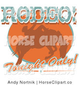 Clip Art of a Brown Silhouetted Cowboy Riding a Bucking Bronco in a Rodeo Competition with Rodeo Text by Andy Nortnik