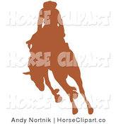 Clip Art of a Brown Silhouetted Cowboy Riding a Bucking Bronco in a Rodeo on a Solid White Background by Andy Nortnik