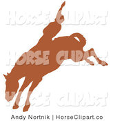 Clip Art of a Brown Silhouetted of a Cowgirl Riding a Bucking Bronco and Holding One Arm up in the Air in a Rodeo by Andy Nortnik