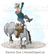Clip Art of a Bucking Bronco Riding Cowboy at a Rodeo Competition by Djart