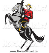 Clip Art of a Canadian Mountie and a Rearing Horse by Patrimonio