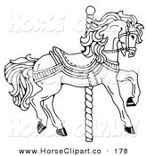 Clip Art of a Carousel Horse Facing Right, on a Spiral Pole, Coloring Page by C Charley-Franzwa