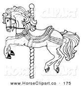 Clip Art of a Carousel Horse on a Spiraling Pole on a White Background by C Charley-Franzwa