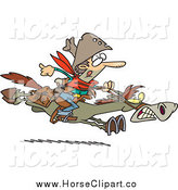Clip Art of a Cartoon Horseback Express Mail Cowboy by Toonaday