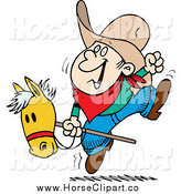 Clip Art of a Cartoon White Boy Riding a Stick Pony by Ron Leishman