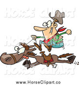 Clip Art of a Cartoon White Male Cowboy on a Galloping Horse by Ron Leishman