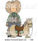 Clip Art of a Caucasian Cowboy in a Hat, Standing Behind His Short, Chubby Pony by Djart