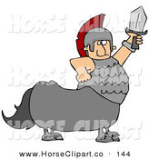 Clip Art of a Caucasian Roman Soldier Centaur Man Holding up a SwordCaucasian Roman Soldier Centaur Man Holding up a Sword by Djart