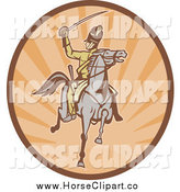 Clip Art of a Cavalry Soldier on Horseback in an Oval of Rays by Patrimonio