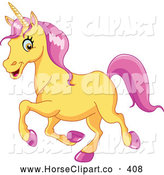 Clip Art of a Cheerful Yellow Unicorn with Pink Hooves and Hair by Yayayoyo