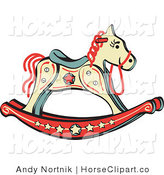 Clip Art of a Children's Rocking Horse with Star Decorations by Andy Nortnik