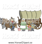 Clip Art of a Chubby Pioneer Family and Pig in Front of Two Horses Pulling a Covered Wagon Along the Oregon Trai by Djart