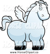 Clip Art of a Chubby White Pegasus by Cory Thoman