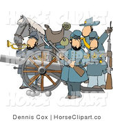 Clip Art of a Civil War Scene of a Horse by a Cannon and Soldiers by Djart