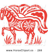 Clip Art of a ClipRed Oriental Horse Design on White by Cherie Reve