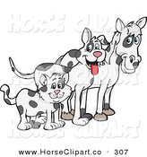 Clip Art of a Cloned Matching Cat, Dog and Horse Looking Right by Dennis Holmes Designs