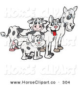 Clip Art of a Cloned Matching Cat, Dog, Horse and Cow and Looking Right by Dennis Holmes Designs