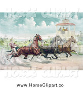 Clip Art of a Close Race Between Four Horse Harness Racing Jockeys by JVPD