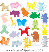 December 11th, 2012: Clip Art of a Colorful Animal Silhouettes on Solid White by Alex Bannykh