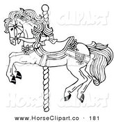 Clip Art of a Coloring Page of a Carousel Horse Decorated in Bows and Flowers by C Charley-Franzwa