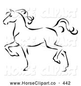 Clip Art of a Coloring Page of a Graceful Black Line Art Trotting Horse Profile by C Charley-Franzwa