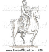 Clip Art of a Coloring Page of a Historical Roman Man on a Horse by Patrimonio