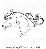 Clip Art of a Coloring Page of a Horse Head in Profile, with a Curly Mane by C Charley-Franzwa