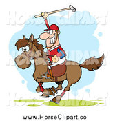Clip Art of a Competitive Polo Player Holding up a Stick by Hit Toon