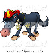 Clip Art of a Cool, but Shy Black Horse Wearing Bling and a Hat by Dero