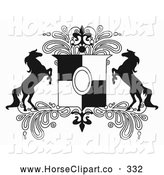 Clip Art of a Couple of Black and White Rearing Horse Crest with Paisleys by C Charley-Franzwa