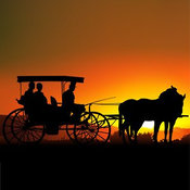 Clip Art of a Couple Sitting in a Horse Drawn Carriage, Silhouetted Against an Orange Sunset by Dero