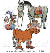 Clip Art of a Cow and Horse with a Tied up Cowboy on White by Dennis Holmes Designs