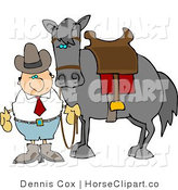 Clip Art of a Cowboy by His Saddled Horse by Djart