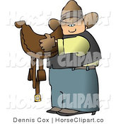 Clip Art of a Cowboy Carrying a Leather Horse Saddle by Djart
