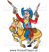 Clip Art of a Cowboy Firing Guns on Horseback by LaffToon