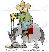 Clip Art of a Cowboy Letting His Horse Eat Hay by Djart