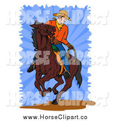Clip Art of a Cowboy on a Horse by Patrimonio