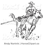 Clip Art of a Cowboy on Horseback Roping Something with a Lasso on a White Background by Andy Nortnik